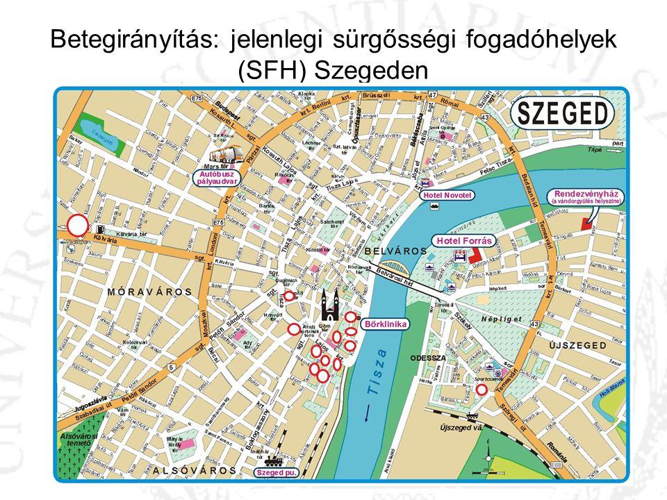 Betegirányítás: jelenlegi sürgősségi fogadóhelyek (SFH) Szegeden