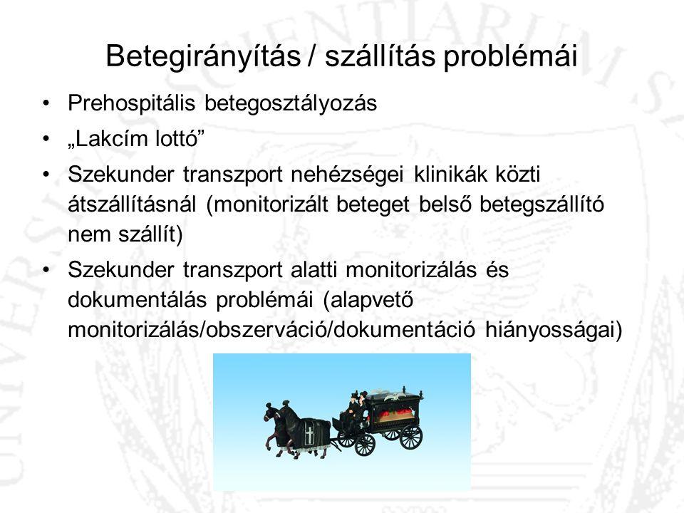 """Betegirányítás / szállítás problémái Prehospitális betegosztályozás """"Lakcím lottó"""" Szekunder transzport nehézségei klinikák közti átszállításnál (moni"""