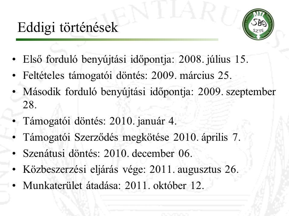 Eddigi történések Első forduló benyújtási időpontja: 2008. július 15. Feltételes támogatói döntés: 2009. március 25. Második forduló benyújtási időpon