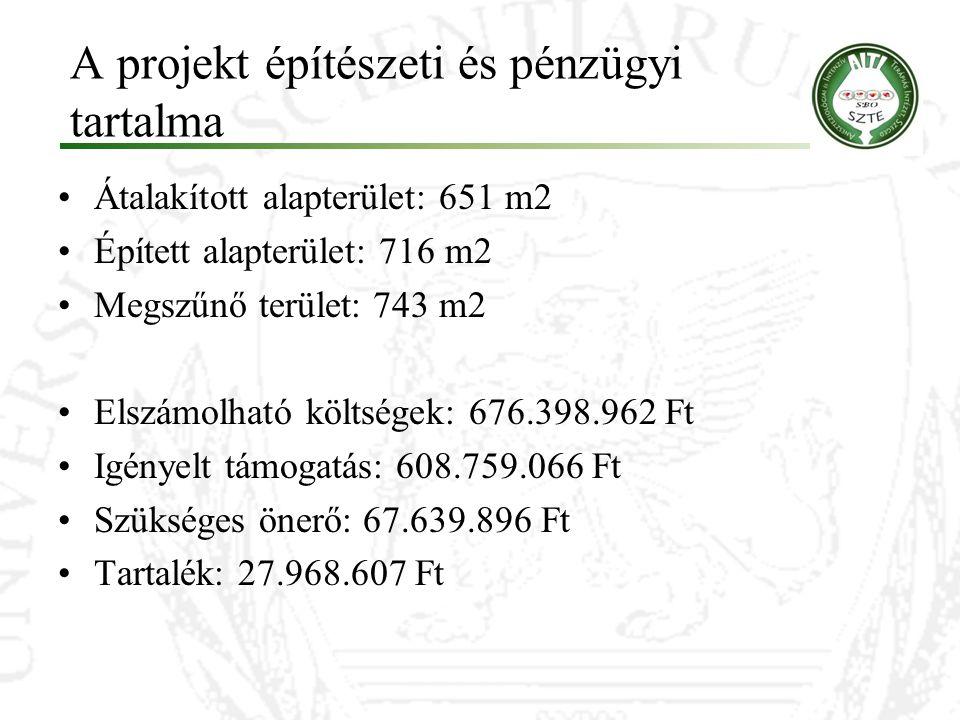 A projekt építészeti és pénzügyi tartalma Átalakított alapterület: 651 m2 Épített alapterület: 716 m2 Megszűnő terület: 743 m2 Elszámolható költségek:
