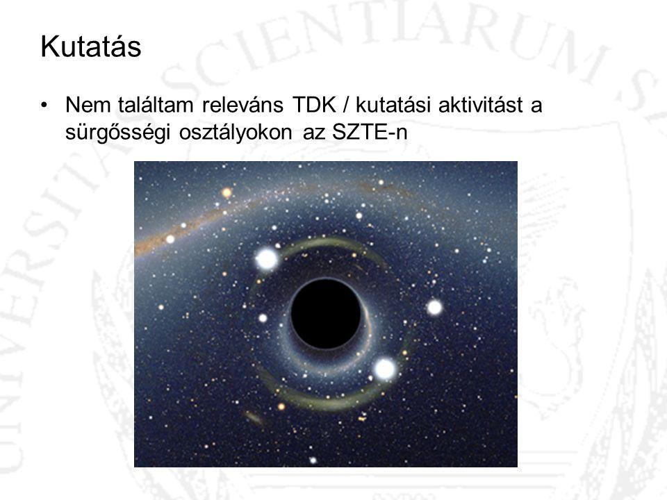 Kutatás Nem találtam releváns TDK / kutatási aktivitást a sürgősségi osztályokon az SZTE-n