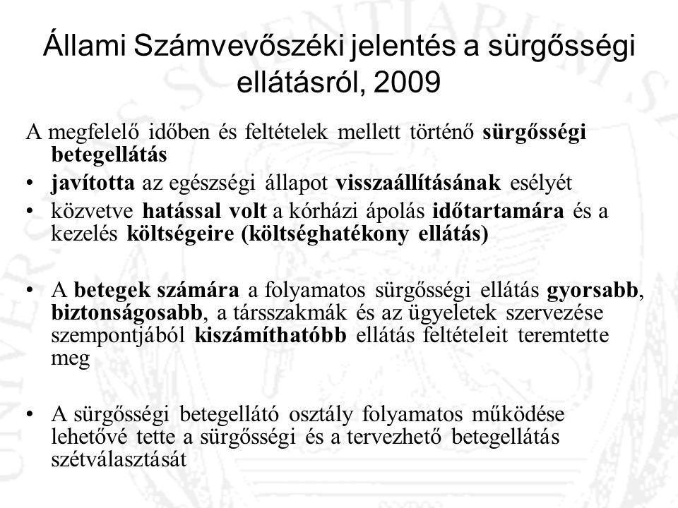 Állami Számvevőszéki jelentés a sürgősségi ellátásról, 2009 A megfelelő időben és feltételek mellett történő sürgősségi betegellátás javította az egés
