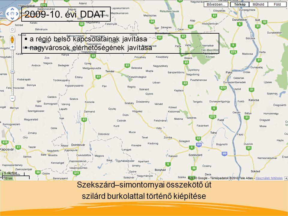 Szekszárd–simontornyai összekötő út szilárd burkolattal történő kiépítése 2009-10. évi DDAT  a régió belső kapcsolatainak javítása  nagyvárosok elér