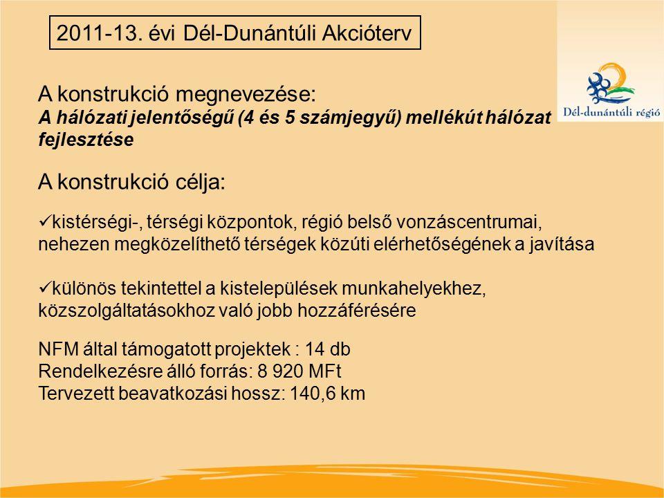 2011-13. évi Dél-Dunántúli Akcióterv A konstrukció megnevezése: A hálózati jelentőségű (4 és 5 számjegyű) mellékút hálózat fejlesztése A konstrukció c
