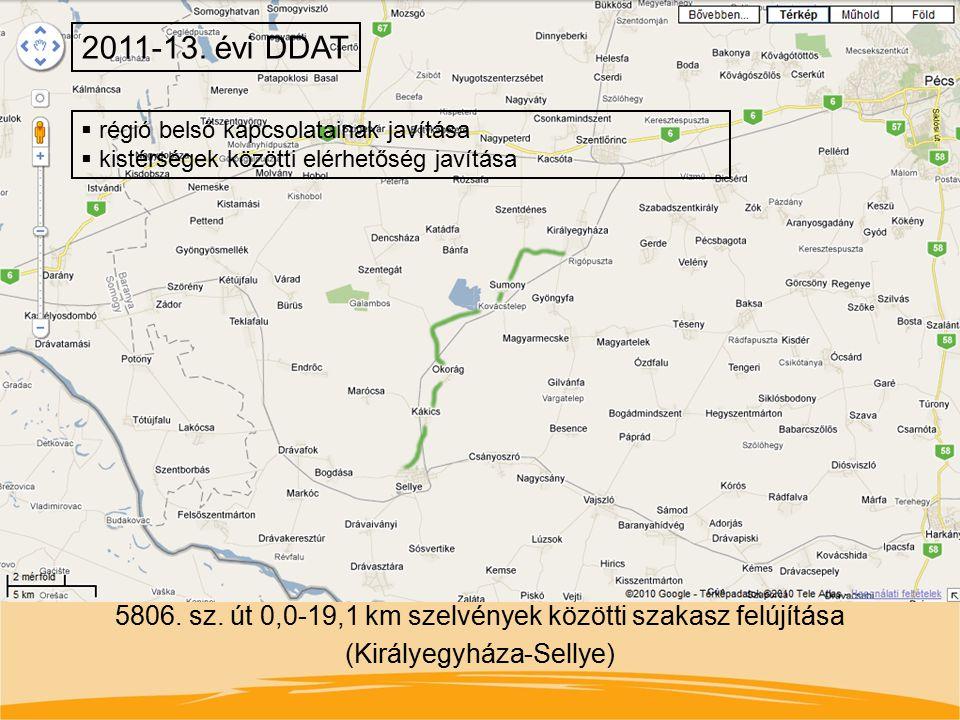 5806. sz. út 0,0-19,1 km szelvények közötti szakasz felújítása (Királyegyháza-Sellye) 2011-13. évi DDAT  régió belső kapcsolatainak javítása  kistér