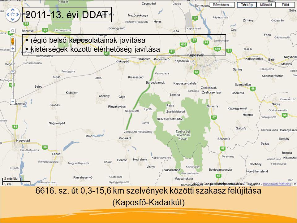 6616. sz. út 0,3-15,6 km szelvények közötti szakasz felújítása (Kaposfő-Kadarkút) 2011-13. évi DDAT  régió belső kapcsolatainak javítása  kistérsége