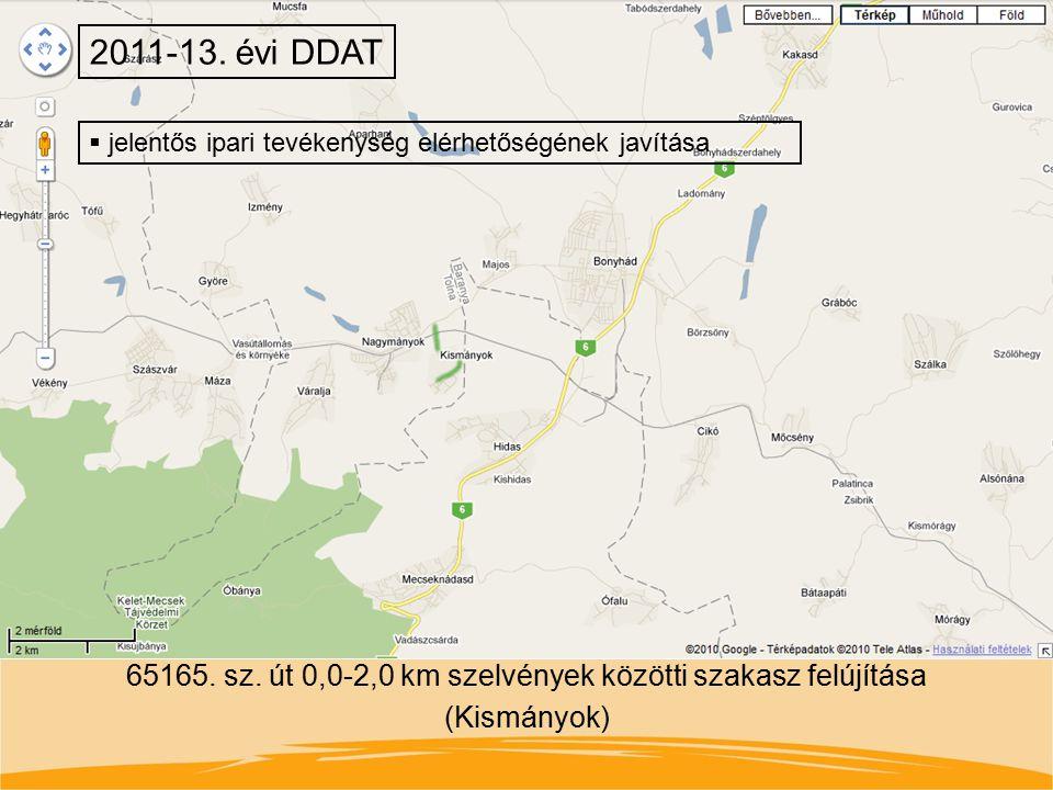 65165. sz. út 0,0-2,0 km szelvények közötti szakasz felújítása (Kismányok) 2011-13. évi DDAT  jelentős ipari tevékenység elérhetőségének javítása