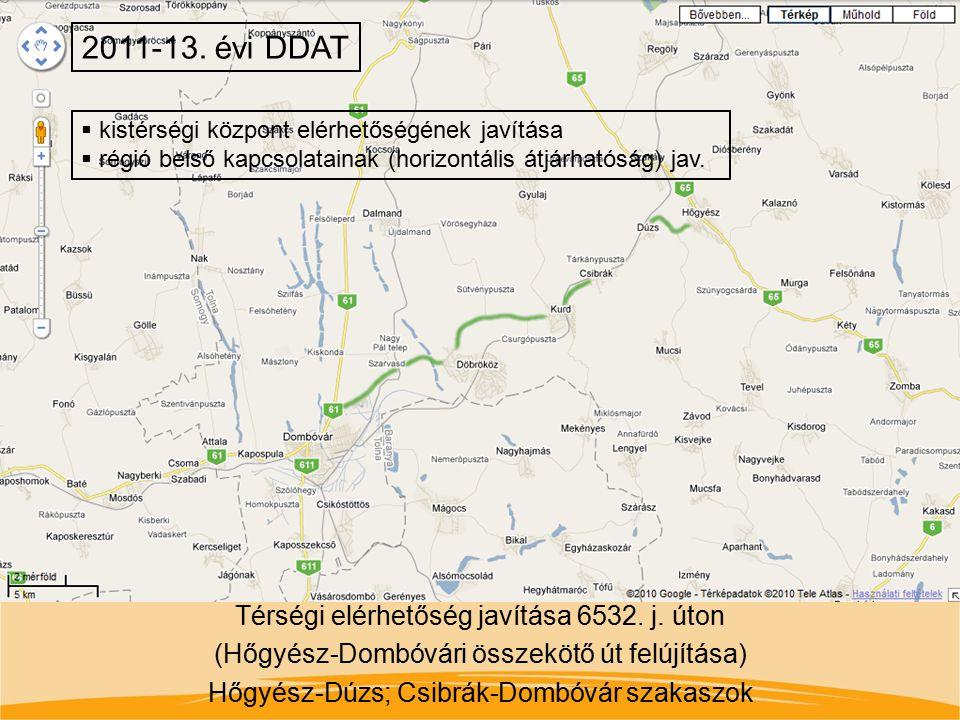 Térségi elérhetőség javítása 6532. j. úton (Hőgyész-Dombóvári összekötő út felújítása) Hőgyész-Dúzs; Csibrák-Dombóvár szakaszok 2011-13. évi DDAT  ki