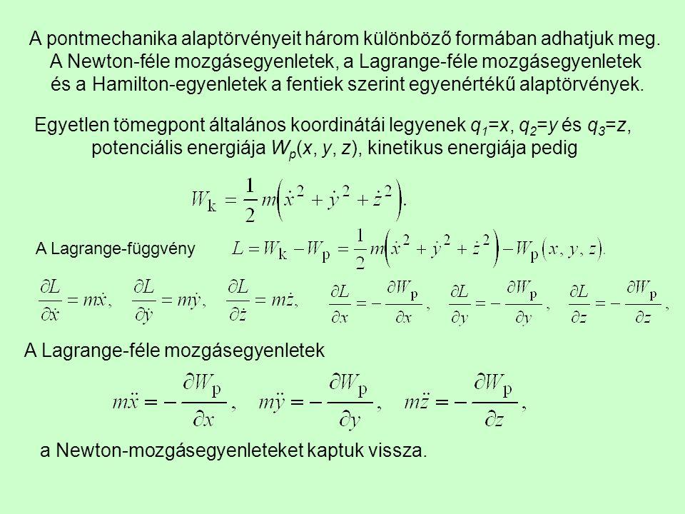 A pontmechanika alaptörvényeit három különböző formában adhatjuk meg. A Newton-féle mozgásegyenletek, a Lagrange-féle mozgásegyenletek és a Hamilton-e