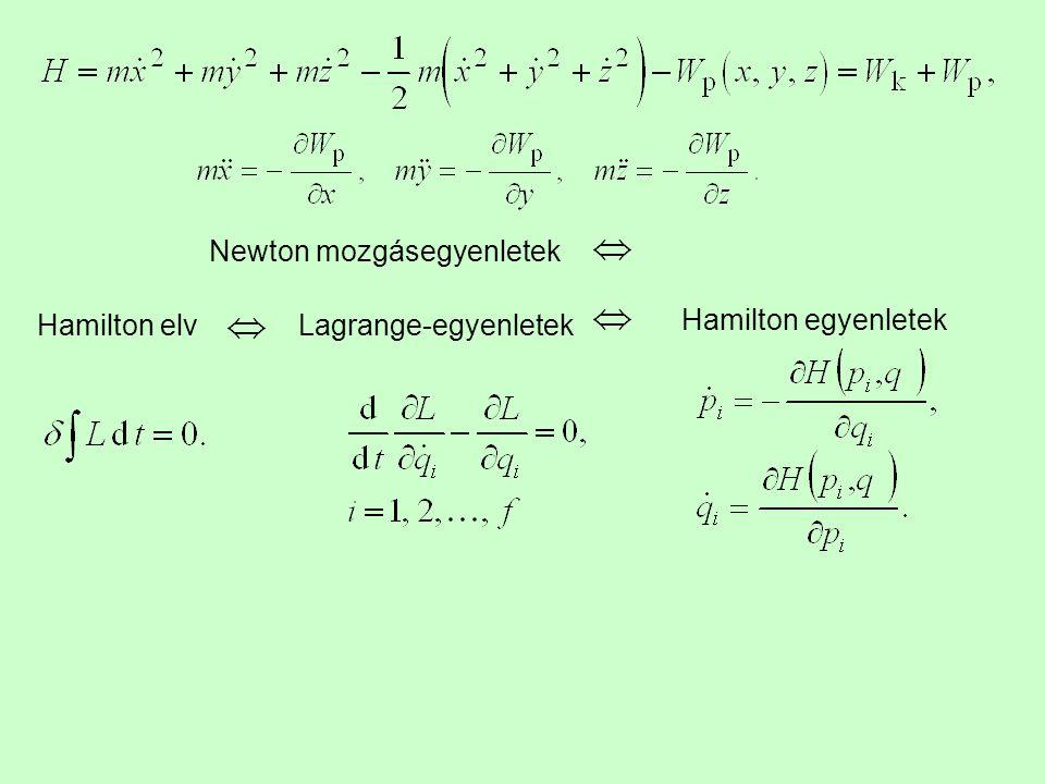 Hamilton elvLagrange-egyenletek Hamilton egyenletek Newton mozgásegyenletek