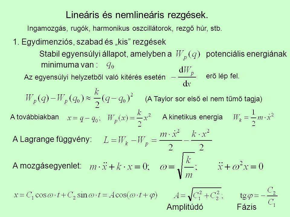 """Lineáris és nemlineáris rezgések. Ingamozgás, rugók, harmonikus oszcillátorok, rezgő húr, stb. 1. Egydimenziós, szabad és """"kis"""" rezgések Stabil egyens"""