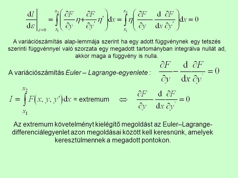 A variációszámítás alap-lemmája szerint ha egy adott függvénynek egy tetszés szerinti függvénnyel való szorzata egy megadott tartományban integrálva n