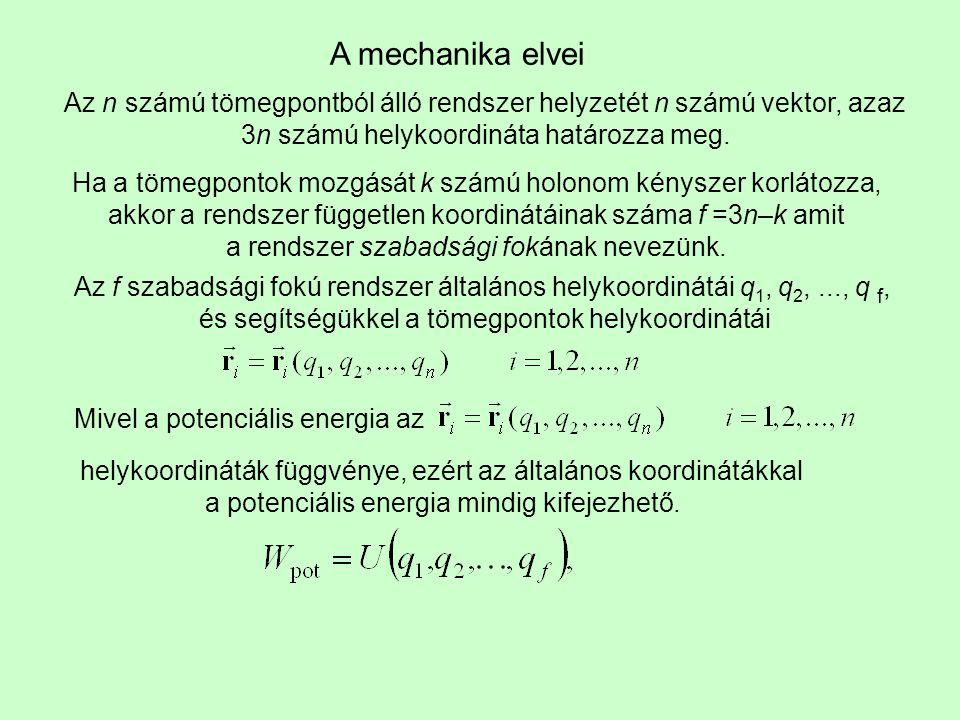 A mechanika elvei Az n számú tömegpontból álló rendszer helyzetét n számú vektor, azaz 3n számú helykoordináta határozza meg. Ha a tömegpontok mozgásá