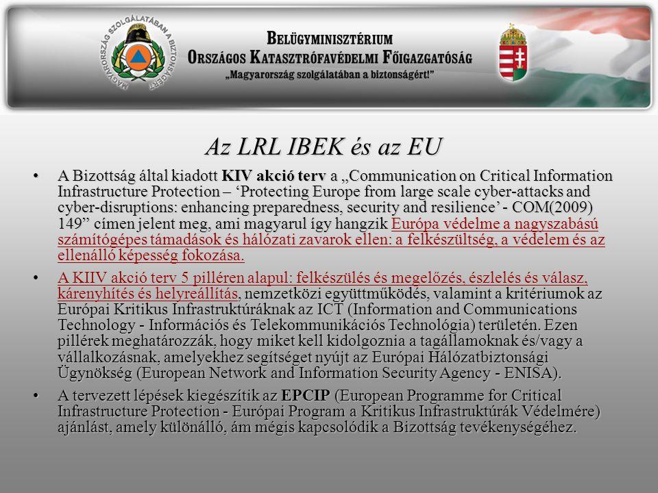 """Az LRL IBEK és az EU A Bizottság által kiadott KIV akció terv a """"Communication on Critical Information Infrastructure Protection – 'Protecting Europe from large scale cyber-attacks and cyber-disruptions: enhancing preparedness, security and resilience' - COM(2009) 149 címen jelent meg, ami magyarul így hangzik Európa védelme a nagyszabású számítógépes támadások és hálózati zavarok ellen: a felkészültség, a védelem és az ellenálló képesség fokozása.A Bizottság által kiadott KIV akció terv a """"Communication on Critical Information Infrastructure Protection – 'Protecting Europe from large scale cyber-attacks and cyber-disruptions: enhancing preparedness, security and resilience' - COM(2009) 149 címen jelent meg, ami magyarul így hangzik Európa védelme a nagyszabású számítógépes támadások és hálózati zavarok ellen: a felkészültség, a védelem és az ellenálló képesség fokozása."""