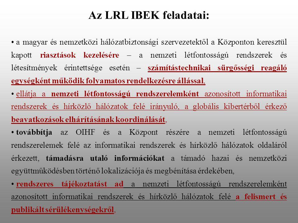 Az LRL IBEK feladatai: a magyar és nemzetközi hálózatbiztonsági szervezetektől a Központon keresztül kapott riasztások kezelésére – a nemzeti létfontosságú rendszerek és létesítmények érintettsége esetén – számítástechnikai sürgősségi reagáló egységként működik folyamatos rendelkezésre állással, ellátja a nemzeti létfontosságú rendszerelemként azonosított informatikai rendszerek és hírközlő hálózatok felé irányuló, a globális kibertérből érkező beavatkozások elhárításának koordinálását, továbbítja az OIHF és a Központ részére a nemzeti létfontosságú rendszerelemek felé az informatikai rendszerek és hírközlő hálózatok oldaláról érkezett, támadásra utaló információkat a támadó hazai és nemzetközi együttműködésben történő lokalizációja és megbénítása érdekében, rendszeres tájékoztatást ad a nemzeti létfontosságú rendszerelemként azonosított informatikai rendszerek és hírközlő hálózatok felé a felismert és publikált sérülékenységekről,