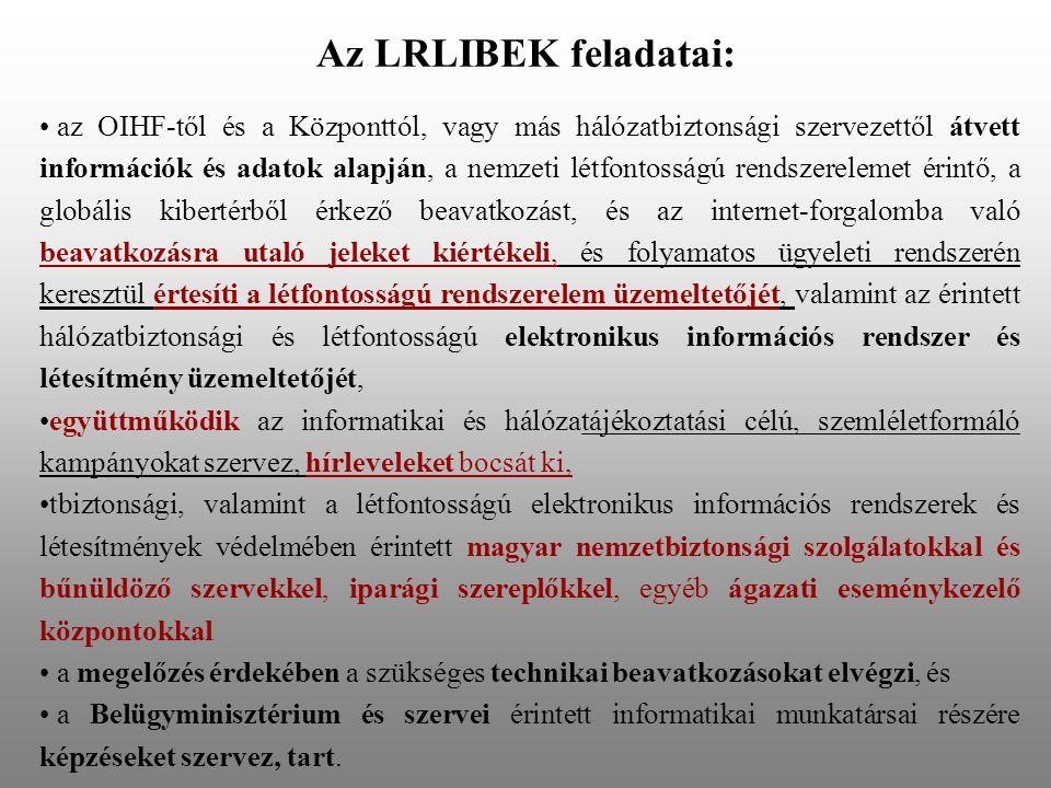 Az LRLIBEK feladatai: az OIHF-től és a Központtól, vagy más hálózatbiztonsági szervezettől átvett információk és adatok alapján, a nemzeti létfontosságú rendszerelemet érintő, a globális kibertérből érkező beavatkozást, és az internet-forgalomba való beavatkozásra utaló jeleket kiértékeli, és folyamatos ügyeleti rendszerén keresztül értesíti a létfontosságú rendszerelem üzemeltetőjét, valamint az érintett hálózatbiztonsági és létfontosságú elektronikus információs rendszer és létesítmény üzemeltetőjét, együttműködik az informatikai és hálózatájékoztatási célú, szemléletformáló kampányokat szervez, hírleveleket bocsát ki, tbiztonsági, valamint a létfontosságú elektronikus információs rendszerek és létesítmények védelmében érintett magyar nemzetbiztonsági szolgálatokkal és bűnüldöző szervekkel, iparági szereplőkkel, egyéb ágazati eseménykezelő központokkal a megelőzés érdekében a szükséges technikai beavatkozásokat elvégzi, és a Belügyminisztérium és szervei érintett informatikai munkatársai részére képzéseket szervez, tart.