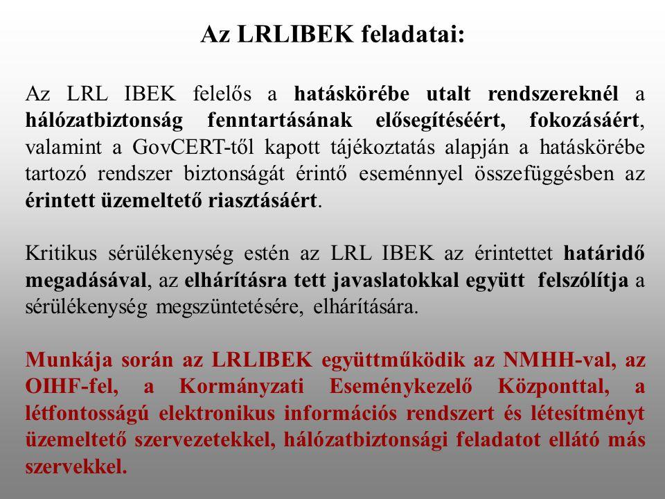 Az LRLIBEK feladatai: Az LRL IBEK felelős a hatáskörébe utalt rendszereknél a hálózatbiztonság fenntartásának elősegítéséért, fokozásáért, valamint a GovCERT-től kapott tájékoztatás alapján a hatáskörébe tartozó rendszer biztonságát érintő eseménnyel összefüggésben az érintett üzemeltető riasztásáért.
