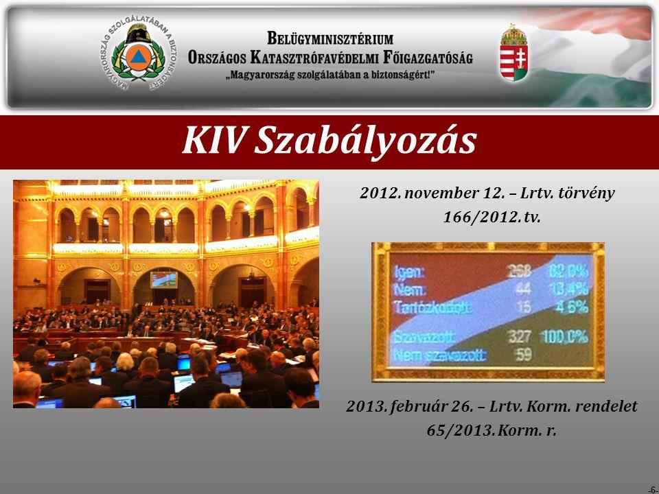 -6- KIV Szabályozás 2012.november 12. – Lrtv. törvény 166/2012.