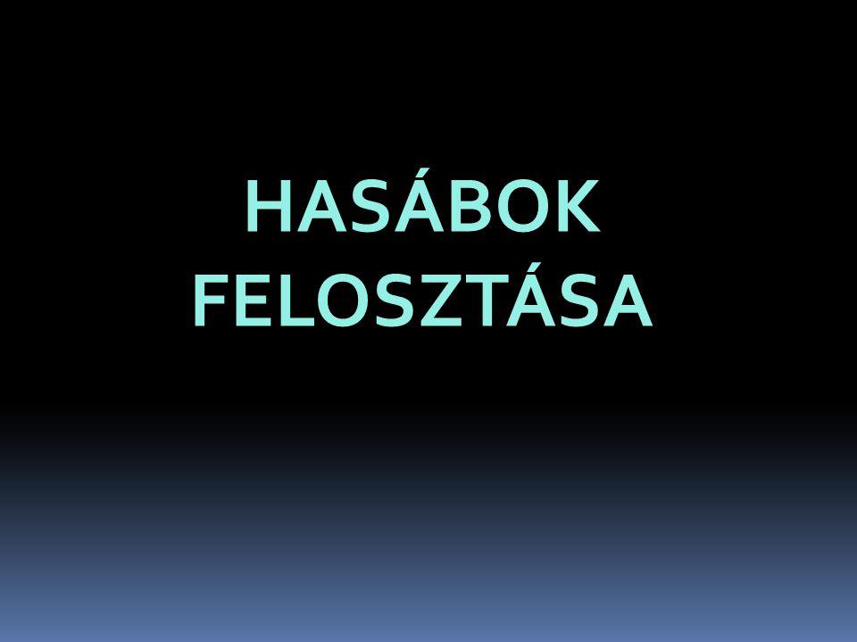 HASÁBOK FELOSZTÁSA