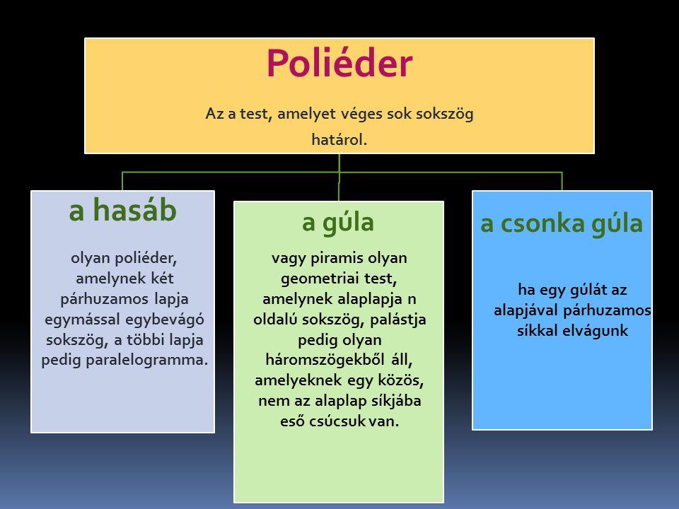 Poliéder Az a test, amelyet véges sok sokszög határol. a hasáb a gúla a csonka gúla olyan poliéder, amelynek két párhuzamos lapja egymással egybevágó