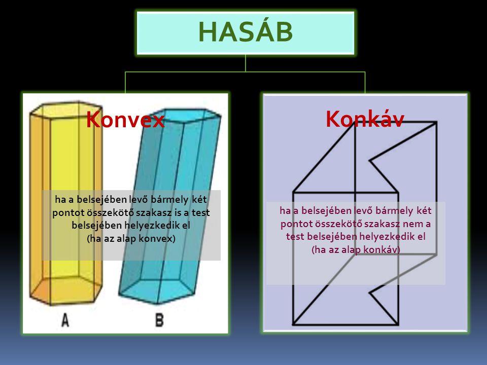 HASÁB Konvex Konkáv ha a belsejében levő bármely két pontot összekötő szakasz is a test belsejében helyezkedik el (ha az alap konvex) ha a belsejében levő bármely két pontot összekötő szakasz nem a test belsejében helyezkedik el (ha az alap konkáv)