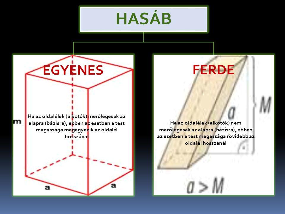 HASÁB EGYENES FERDE Ha az oldalélek (alkotók) merőlegesek az alapra (bázisra), ebben az esetben a test magassága megegyezik az oldalél hosszával Ha az oldalélek (alkotók) nem merőlegesek az alapra (bázisra), ebben az esetben a test magassága rövidebb az oldalél hosszánál