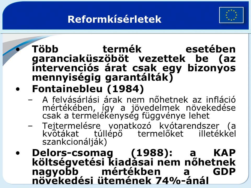 Reformkísérletek Több termék esetében garanciaküszöböt vezettek be (az intervenciós árat csak egy bizonyos mennyiségig garantálták) Fontainebleu (1984