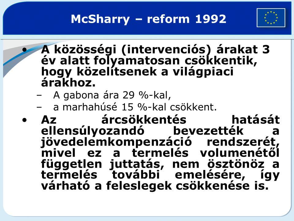 McSharry – reform 1992 A közösségi (intervenciós) árakat 3 év alatt folyamatosan csökkentik, hogy közelítsenek a világpiaci árakhoz. –A gabona ára 29