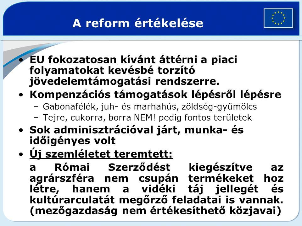 A reform értékelése EU fokozatosan kívánt áttérni a piaci folyamatokat kevésbé torzító jövedelemtámogatási rendszerre. Kompenzációs támogatások lépésr