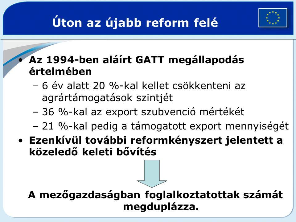 Úton az újabb reform felé Az 1994-ben aláírt GATT megállapodás értelmében –6 év alatt 20 %-kal kellet csökkenteni az agrártámogatások szintjét –36 %-k