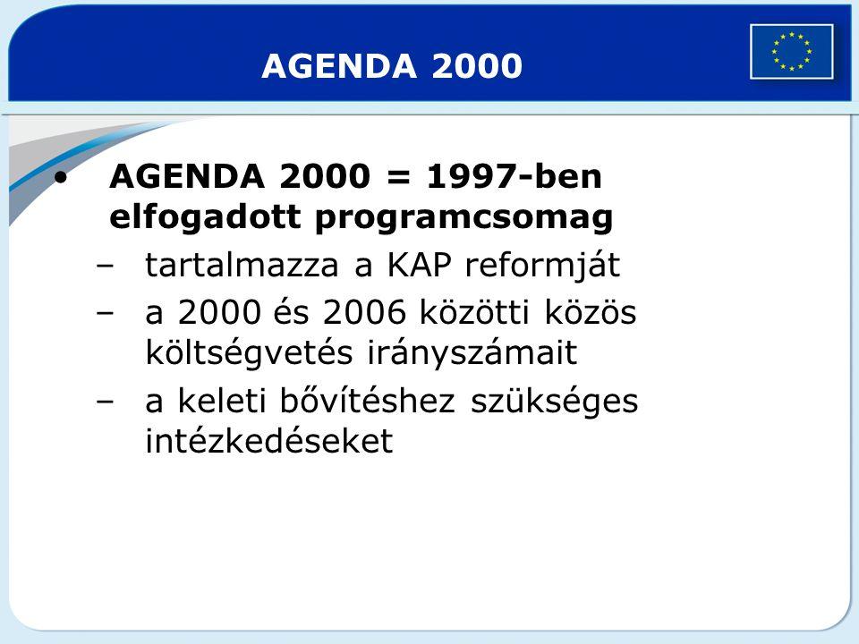 AGENDA 2000 AGENDA 2000 = 1997-ben elfogadott programcsomag –tartalmazza a KAP reformját –a 2000 és 2006 közötti közös költségvetés irányszámait –a ke