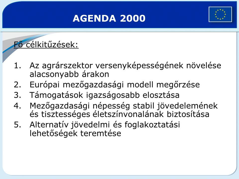 Fő célkitűzések: 1.Az agrárszektor versenyképességének növelése alacsonyabb árakon 2.Európai mezőgazdasági modell megőrzése 3.Támogatások igazságosabb