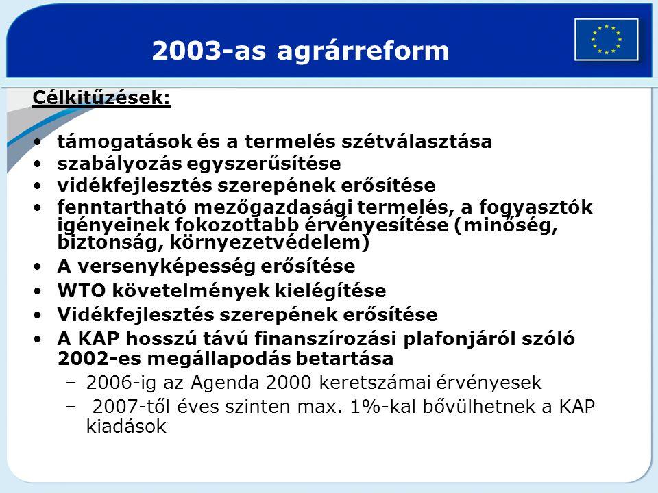 2003-as agrárreform Célkitűzések: támogatások és a termelés szétválasztása szabályozás egyszerűsítése vidékfejlesztés szerepének erősítése fenntarthat