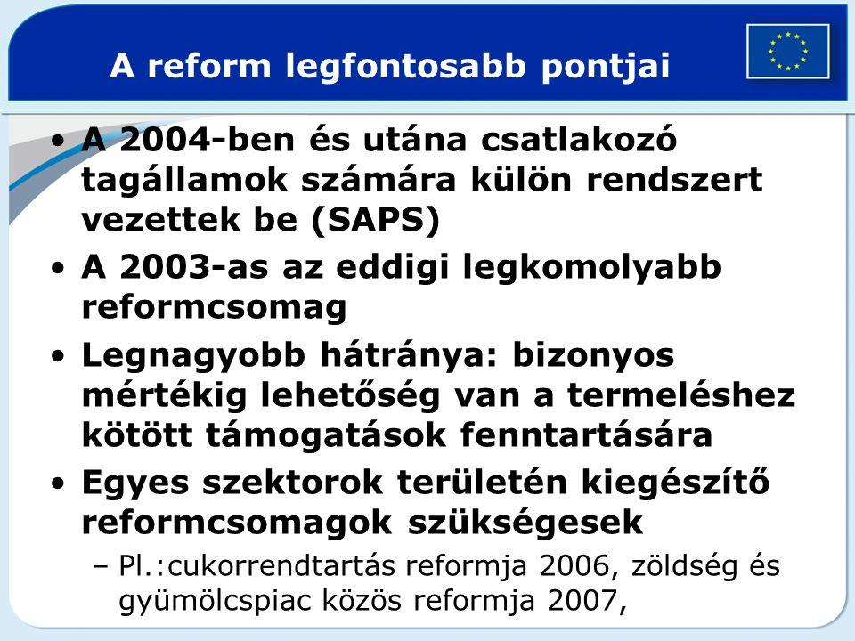 A 2004-ben és utána csatlakozó tagállamok számára külön rendszert vezettek be (SAPS) A 2003-as az eddigi legkomolyabb reformcsomag Legnagyobb hátránya