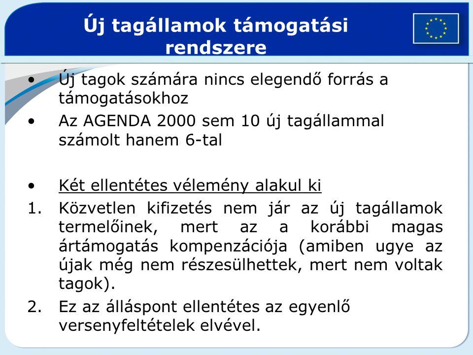 Új tagok számára nincs elegendő forrás a támogatásokhoz Az AGENDA 2000 sem 10 új tagállammal számolt hanem 6-tal Két ellentétes vélemény alakul ki 1.K