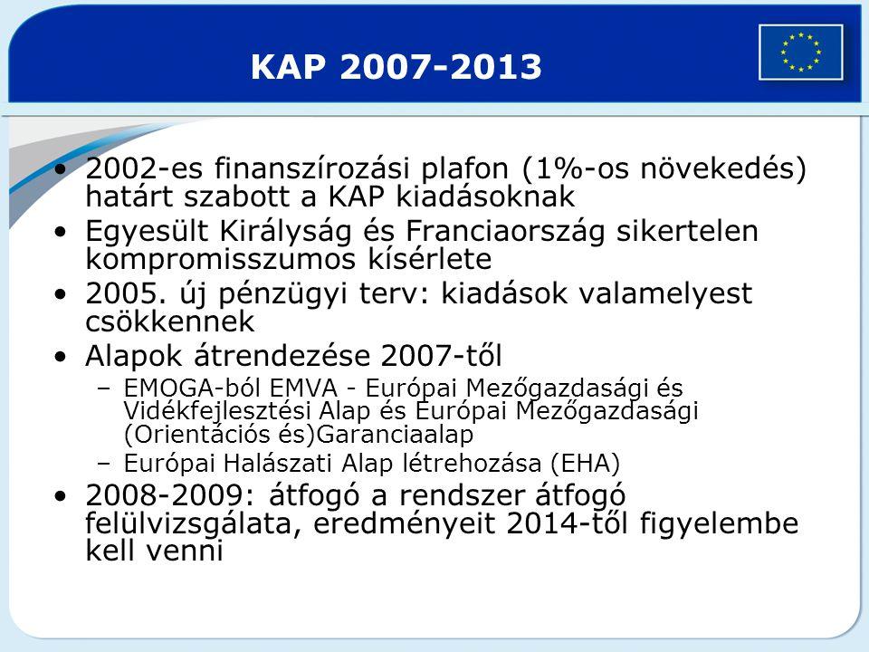 KAP 2007-2013 2002-es finanszírozási plafon (1%-os növekedés) határt szabott a KAP kiadásoknak Egyesült Királyság és Franciaország sikertelen kompromi