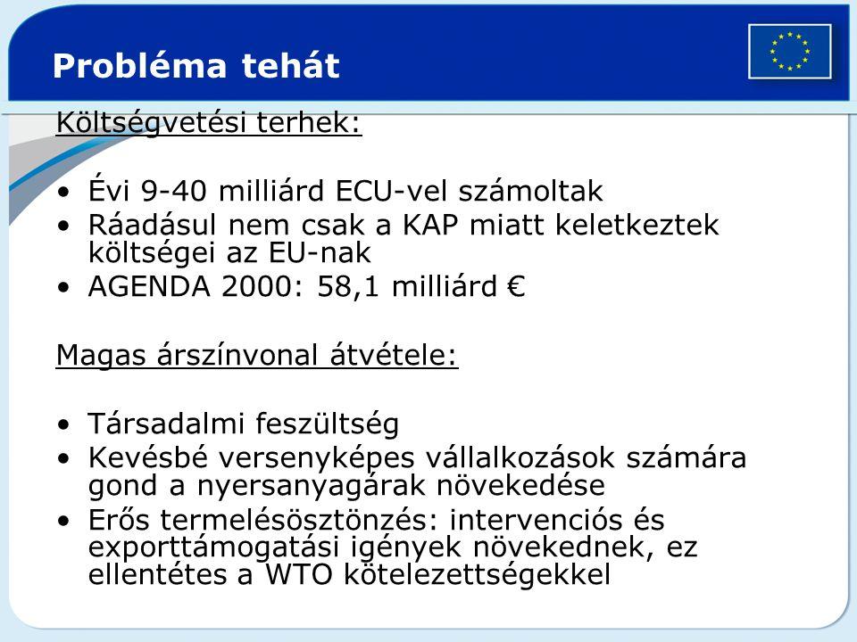 Költségvetési terhek: Évi 9-40 milliárd ECU-vel számoltak Ráadásul nem csak a KAP miatt keletkeztek költségei az EU-nak AGENDA 2000: 58,1 milliárd € M