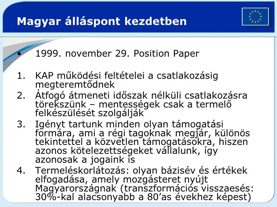 Magyar álláspont kezdetben 1999. november 29. Position Paper 1.KAP működési feltételei a csatlakozásig megteremtődnek 2.Átfogó átmeneti időszak nélkül