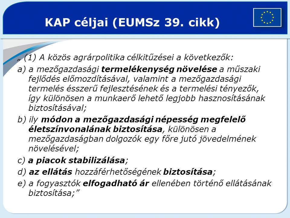 """KAP céljai (EUMSz 39. cikk) """" (1) A közös agrárpolitika célkitűzései a következők: a) a mezőgazdasági termelékenység növelése a műszaki fejlődés előmo"""