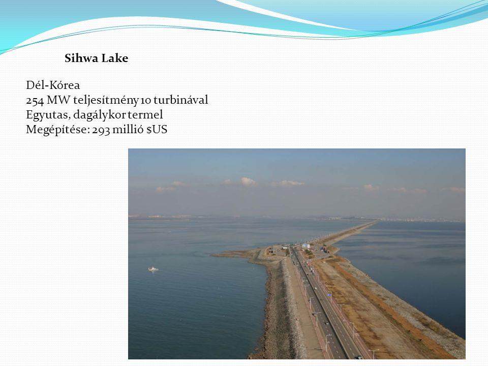 Sihwa Lake Dél-Kórea 254 MW teljesítmény 10 turbinával Egyutas, dagálykor termel Megépítése: 293 millió $US