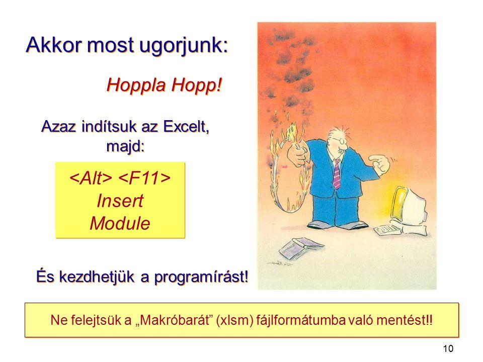 """10 Akkor most ugorjunk: Azaz indítsuk az Excelt, majd: Hoppla Hopp! Insert Module És kezdhetjük a programírást! Ne felejtsük a """"Makróbarát"""" (xlsm) fáj"""