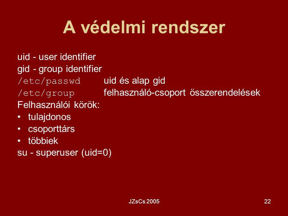 JZsCs 200522 A védelmi rendszer uid - user identifier gid - group identifier /etc/passwd uid és alap gid /etc/group felhasználó-csoport összerendelése