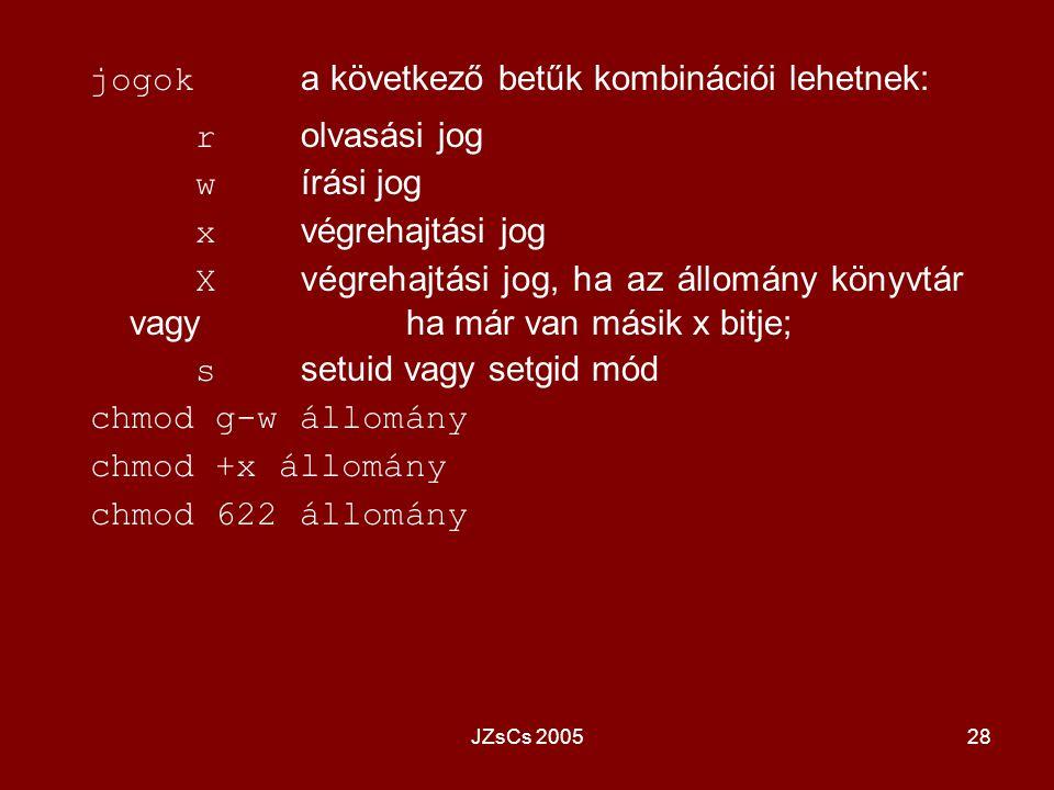 JZsCs 200528 jogok a következő betűk kombinációi lehetnek: r olvasási jog w írási jog x végrehajtási jog X végrehajtási jog, ha az állomány könyvtár v