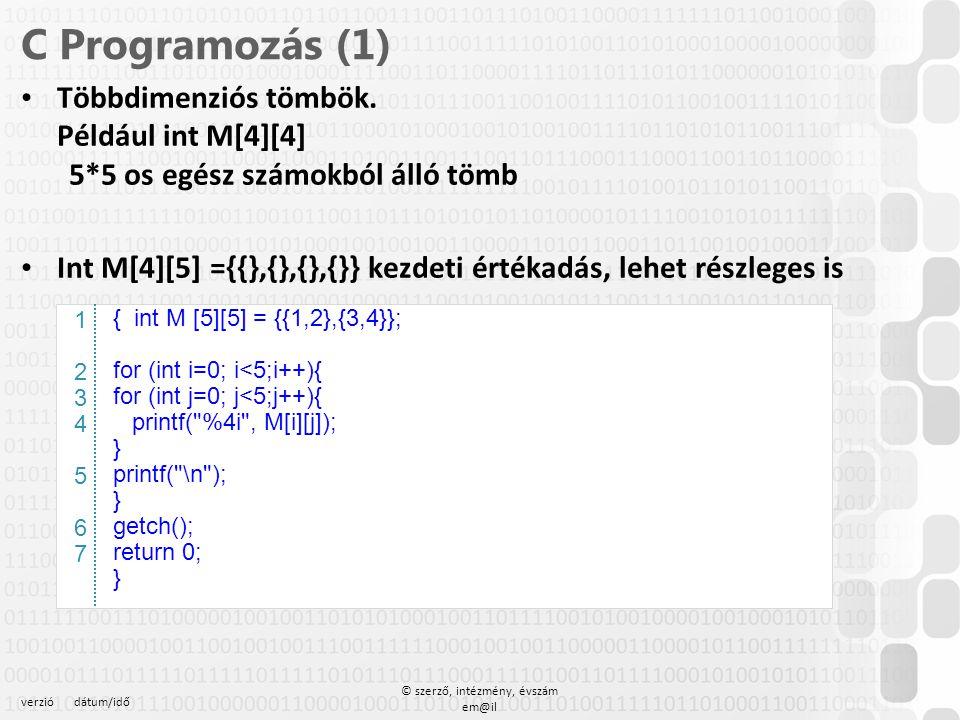 verziódátum/idő © szerző, intézmény, évszám em@il C Programozás (1) Többdimenziós tömbök. Például int M[4][4] 5*5 os egész számokból álló tömb Int M[4