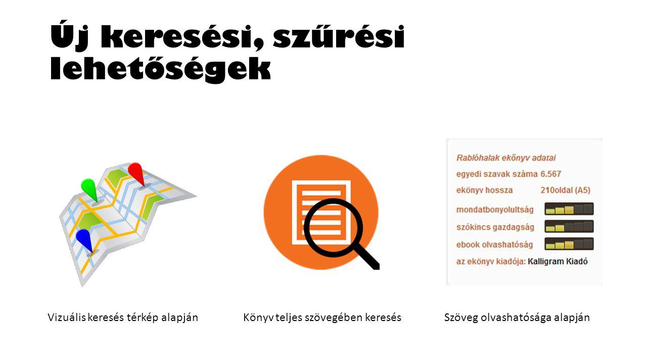 Új keresési, szűrési lehetőségek Vizuális keresés térkép alapjánKönyv teljes szövegében keresésSzöveg olvashatósága alapján