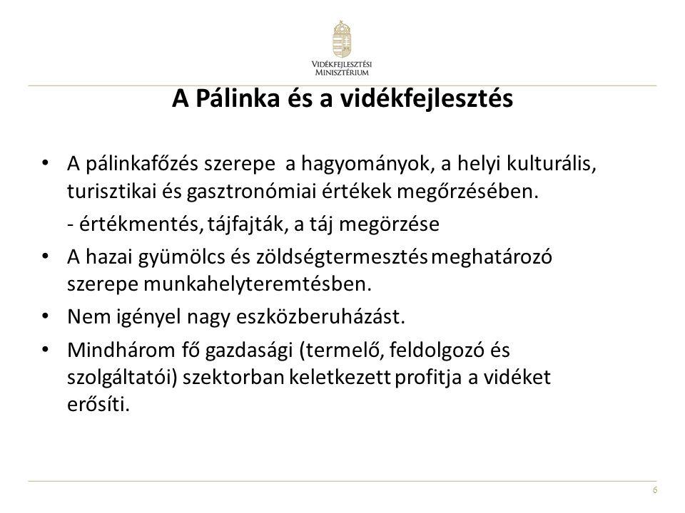 6 A Pálinka és a vidékfejlesztés A pálinkafőzés szerepe a hagyományok, a helyi kulturális, turisztikai és gasztronómiai értékek megőrzésében. - értékm