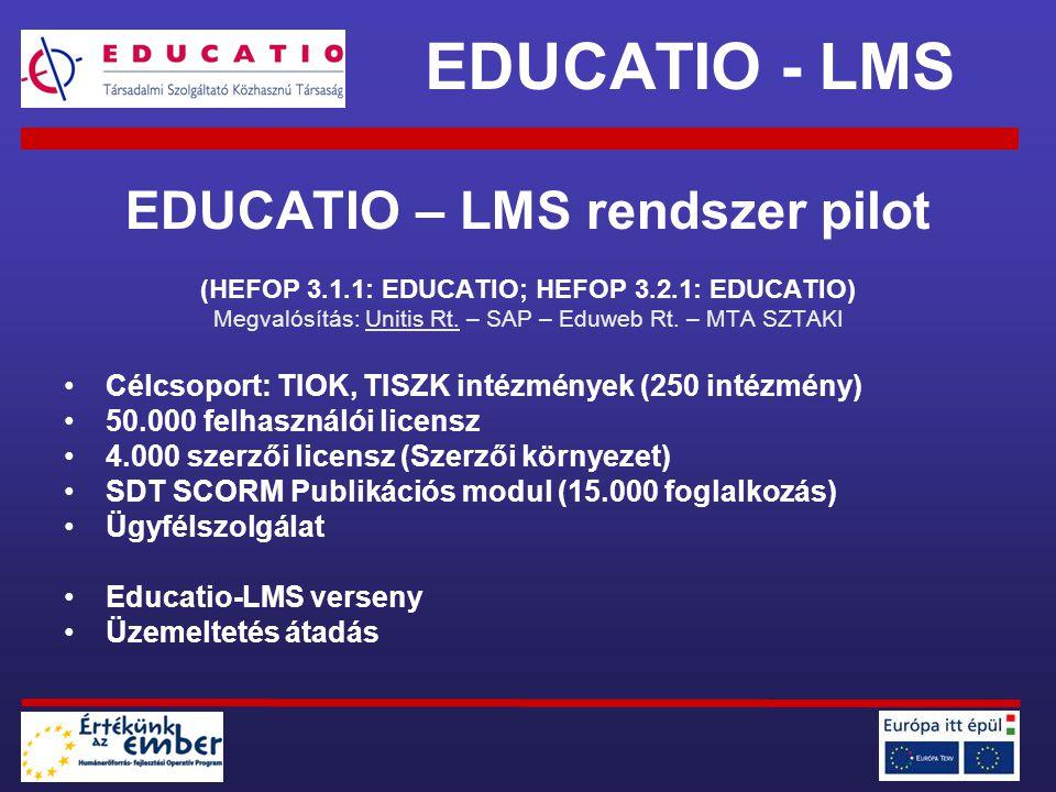 EDUCATIO – LMS rendszer pilot (HEFOP 3.1.1: EDUCATIO; HEFOP 3.2.1: EDUCATIO) Megvalósítás: Unitis Rt. – SAP – Eduweb Rt. – MTA SZTAKI Célcsoport: TIOK
