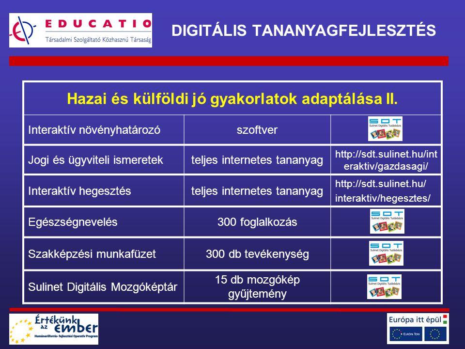 DIGITÁLIS TANANYAGFEJLESZTÉS Hazai és külföldi jó gyakorlatok adaptálása II. Interaktív növényhatározószoftver Jogi és ügyviteli ismeretekteljes inter