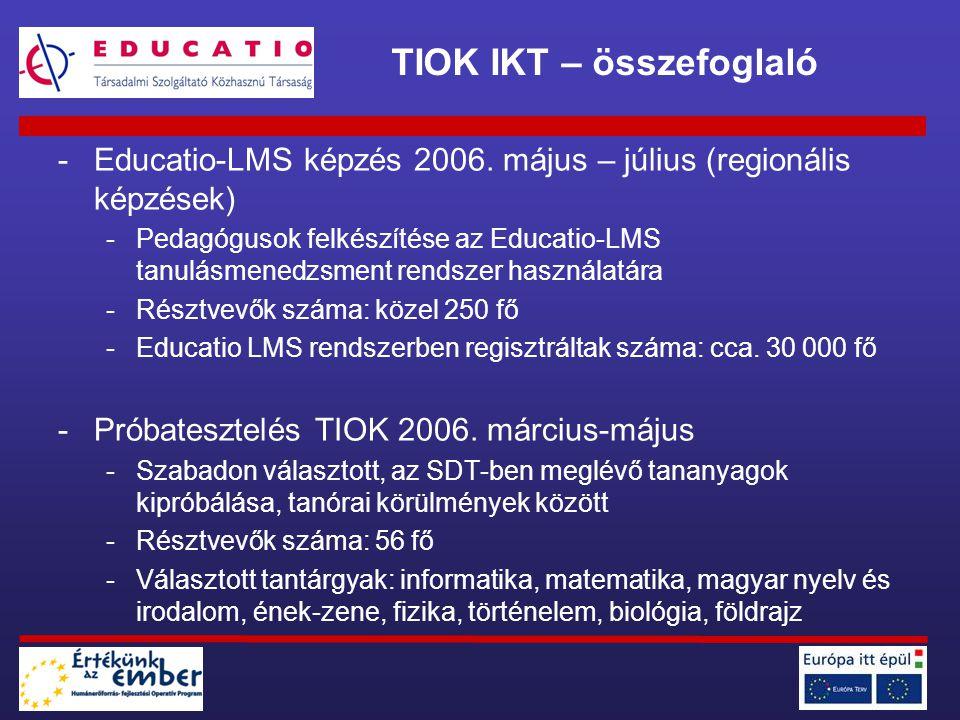 -Educatio-LMS képzés 2006. május – július (regionális képzések) -Pedagógusok felkészítése az Educatio-LMS tanulásmenedzsment rendszer használatára -Ré