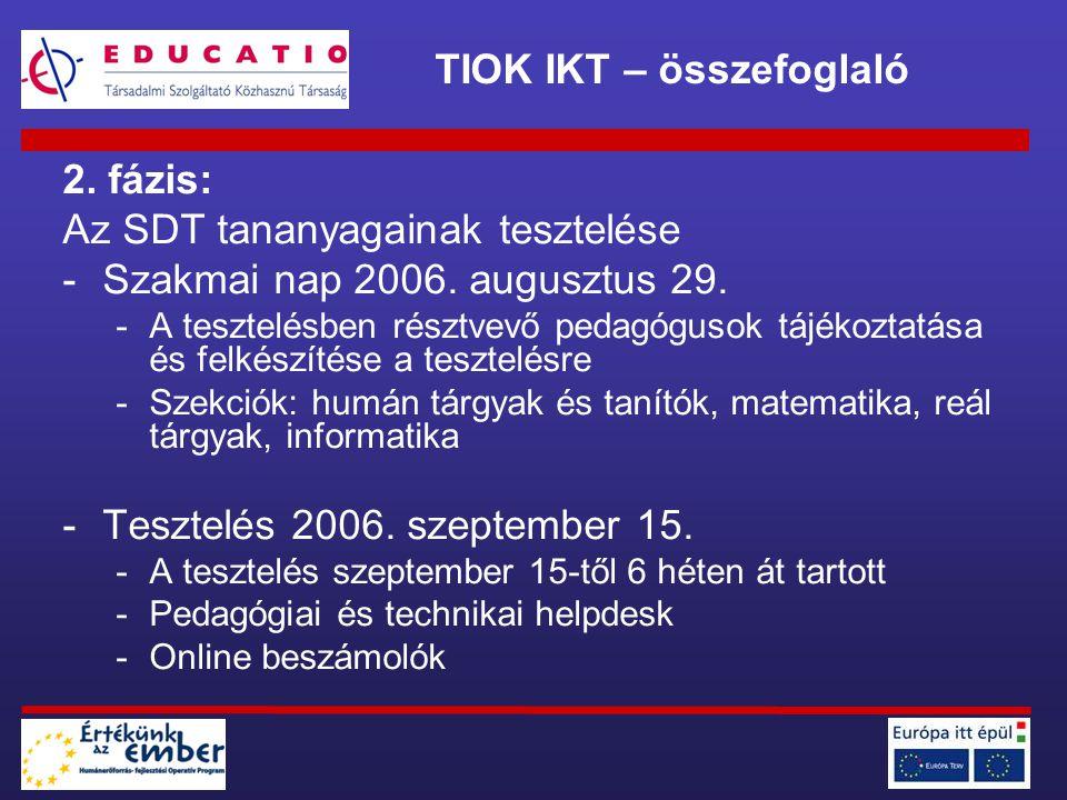2. fázis: Az SDT tananyagainak tesztelése -Szakmai nap 2006. augusztus 29. -A tesztelésben résztvevő pedagógusok tájékoztatása és felkészítése a teszt